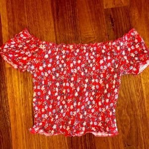 New Look cropped floral off the shoulder top